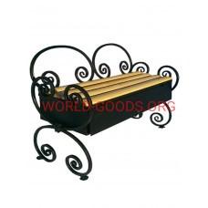 Скамейка кованая Волна 15 со спинкой, ящиком