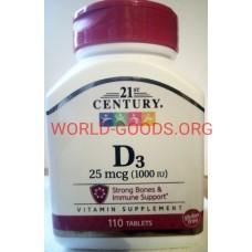 Д3, витамин, 1000 МЕ, 110, таблеток, холекальциферол, D3