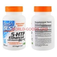 Витамины Doctor's Best, 5-HTP, усиленный витаминами B6 и C, 120 растительных капсул