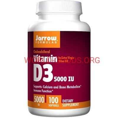 Д3, 5000 МЕ, 100 гелевых капсул,  Jarrow Formulas, США, Витамин