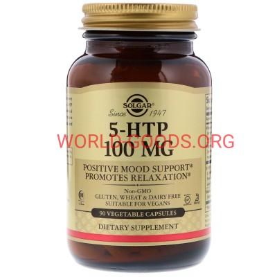 5 HTP, 100 мг, 90 растительных капсул, Солгар, гидрокситриптофан, витамины, 5htp поддерживает выработку серотонина, витамины для мозга, world-goods.ru