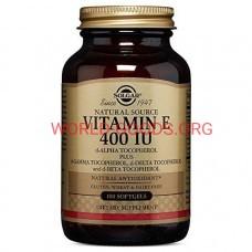 Витамин, Е, 400 МЕ, 100 капсул, витамин Е, Солгар