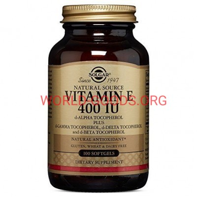Витамин, Е, 400 МЕ, 100 капсул, Солгар, США