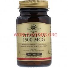 Витамин, А, сухой, 1500 МЕ, 100 таблеток, Витамины, Солгар