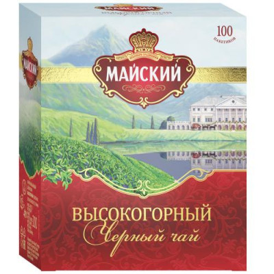 Чай Майский Высокогорный черный 100 пакетиков  2г