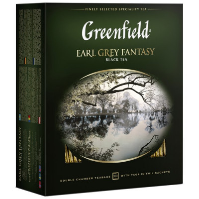 Чай черный Greenfield Earl Grey Fantasy 100 пакетиков, бергамот