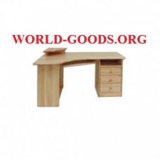 Стол угловой письменный деревянный компьютерный три ящика справа