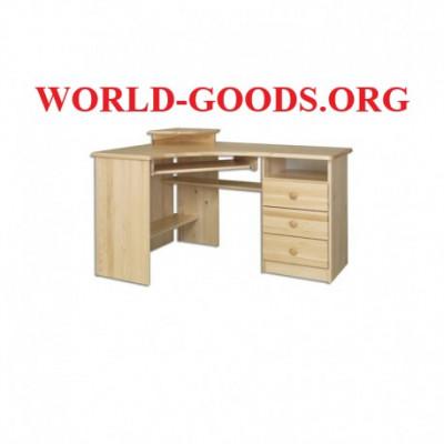 Стол Письменный деревянный большой компьютерный угловой три выдвижных ящика справа