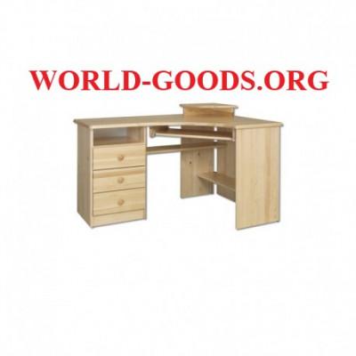 Стол Письменный деревянный большой компьютерный угловой три выдвижных ящика слева