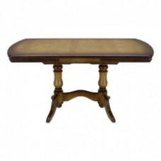 Стол, Прямоугольный, закругленный, на двух балясинах, деревянный, обеденный